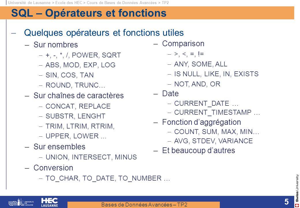 SQL – Opérateurs et fonctions