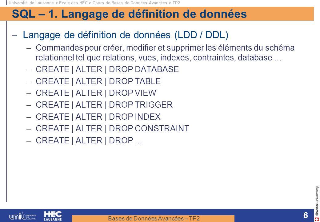 SQL – 1. Langage de définition de données