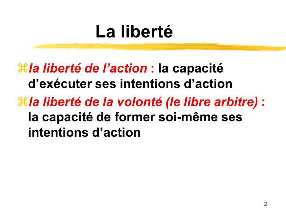La liberté la liberté de l'action : la capacité d'exécuter ses intentions d'action.