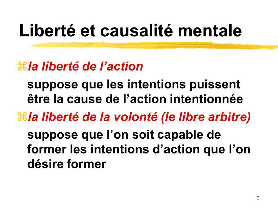 Liberté et causalité mentale