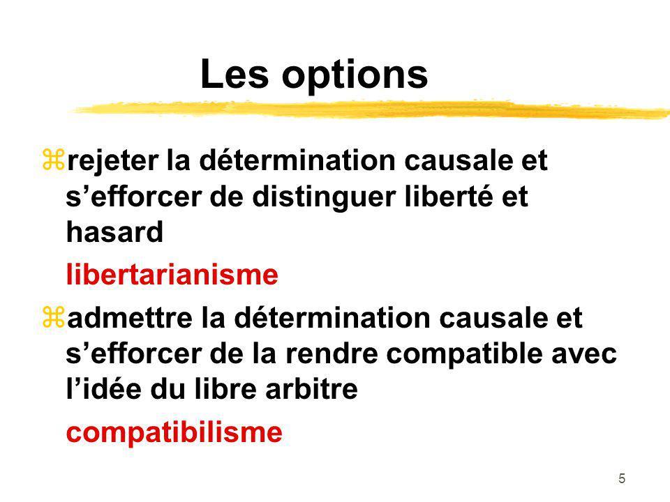 Les options rejeter la détermination causale et s'efforcer de distinguer liberté et hasard. libertarianisme.