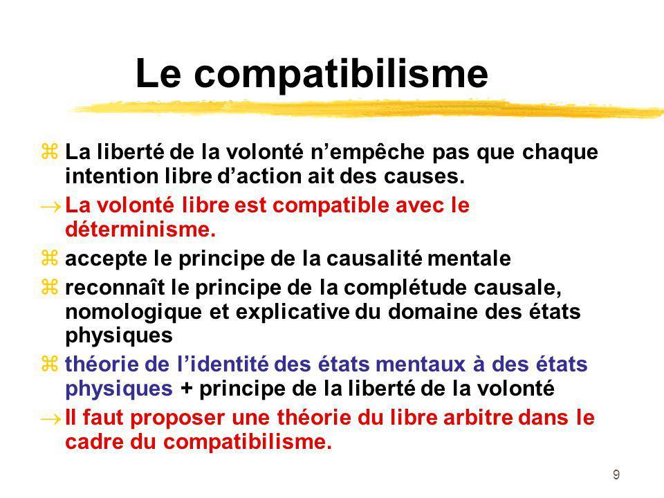 Le compatibilisme La liberté de la volonté n'empêche pas que chaque intention libre d'action ait des causes.