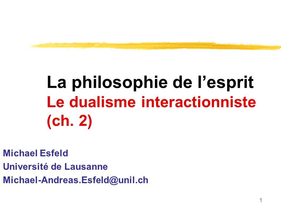 La philosophie de l'esprit Le dualisme interactionniste (ch. 2)