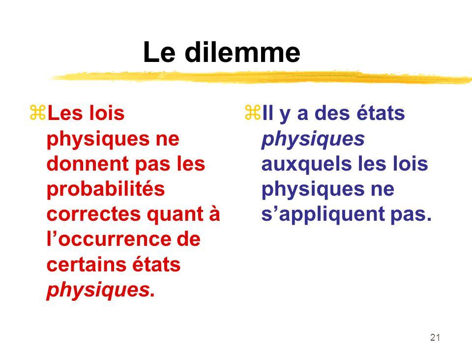 Le dilemme Les lois physiques ne donnent pas les probabilités correctes quant à l'occurrence de certains états physiques.