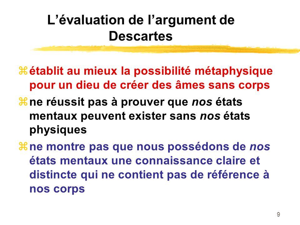 L'évaluation de l'argument de Descartes