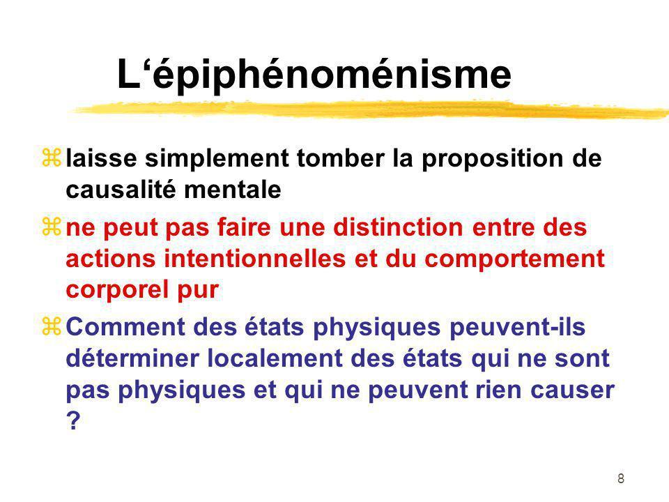 L'épiphénoménisme laisse simplement tomber la proposition de causalité mentale.