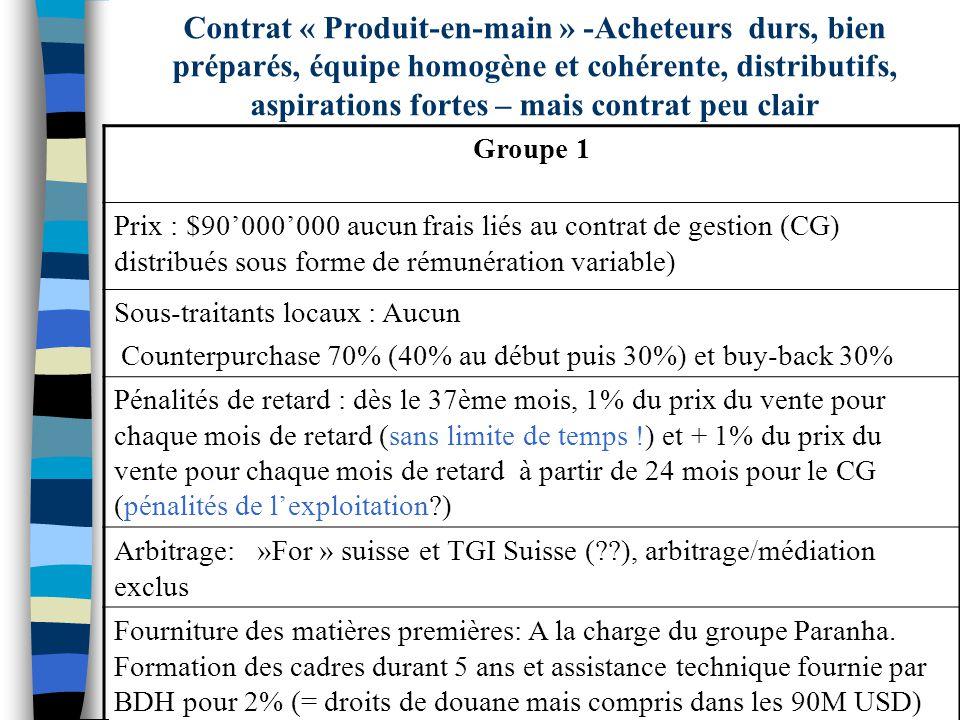 Contrat « Produit-en-main » -Acheteurs durs, bien préparés, équipe homogène et cohérente, distributifs, aspirations fortes – mais contrat peu clair