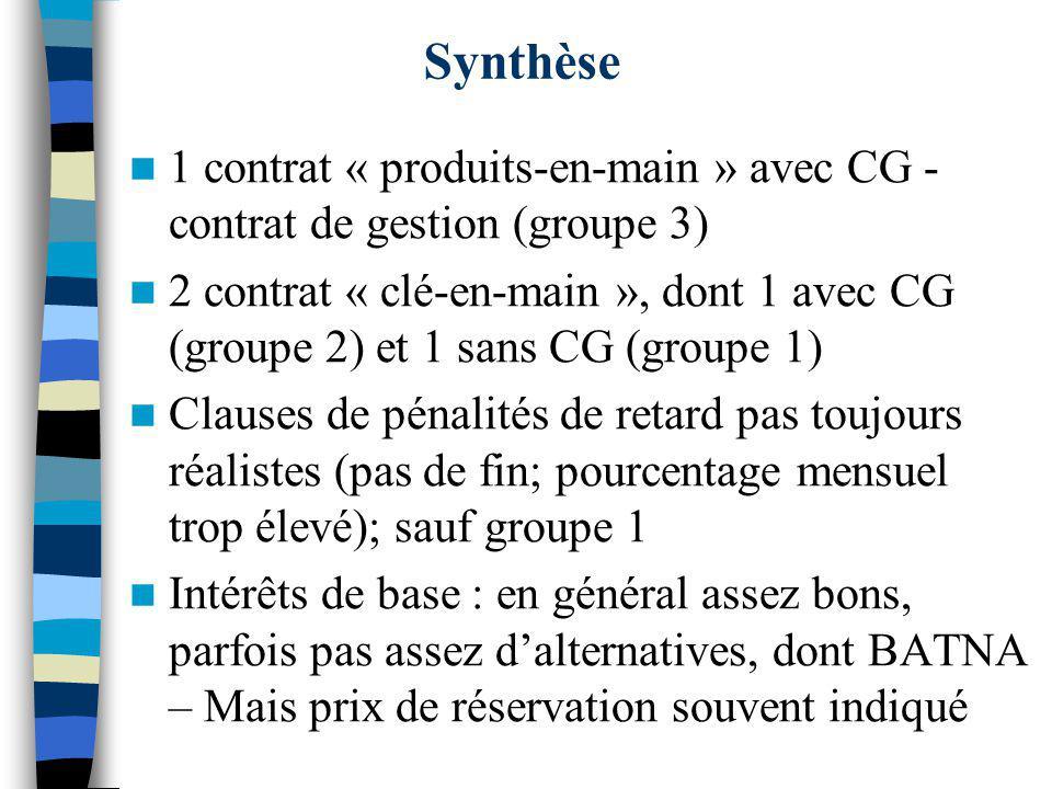 Synthèse 1 contrat « produits-en-main » avec CG - contrat de gestion (groupe 3)