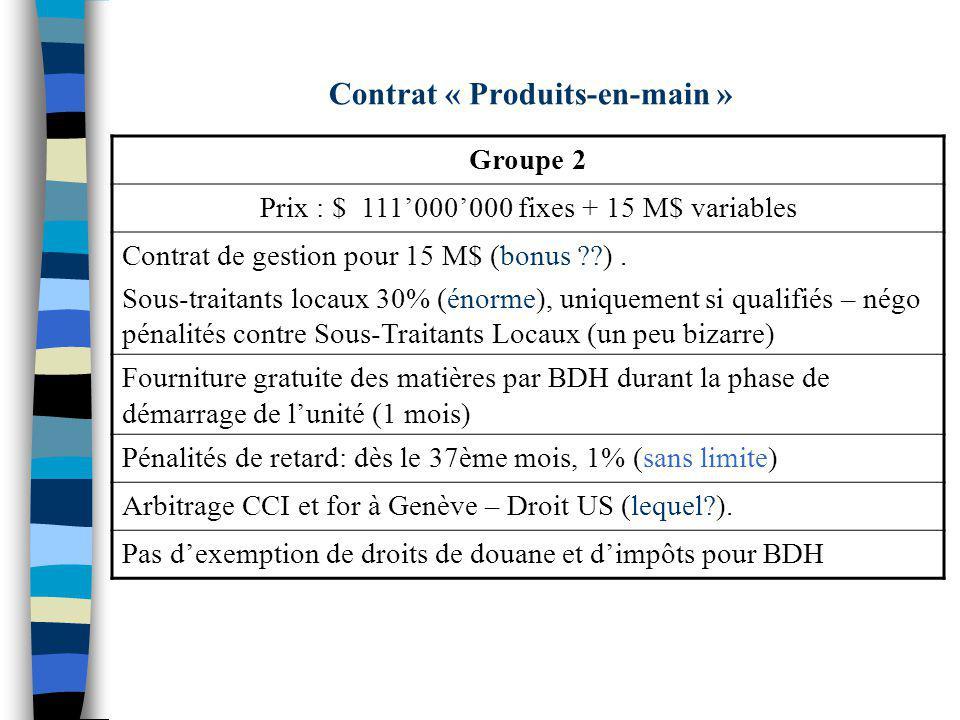 Contrat « Produits-en-main »