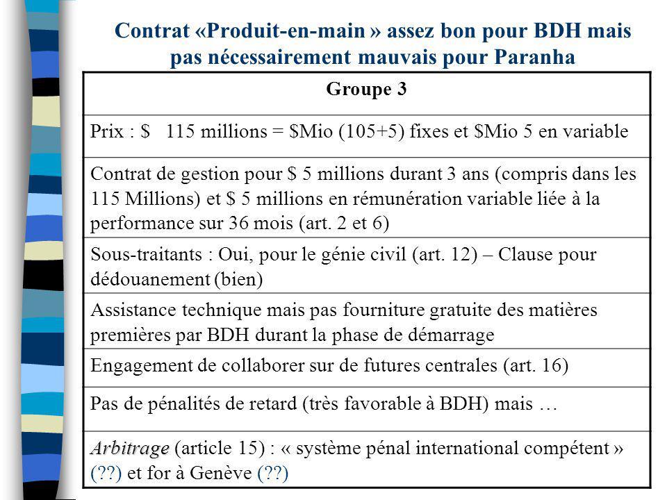 Contrat «Produit-en-main » assez bon pour BDH mais pas nécessairement mauvais pour Paranha