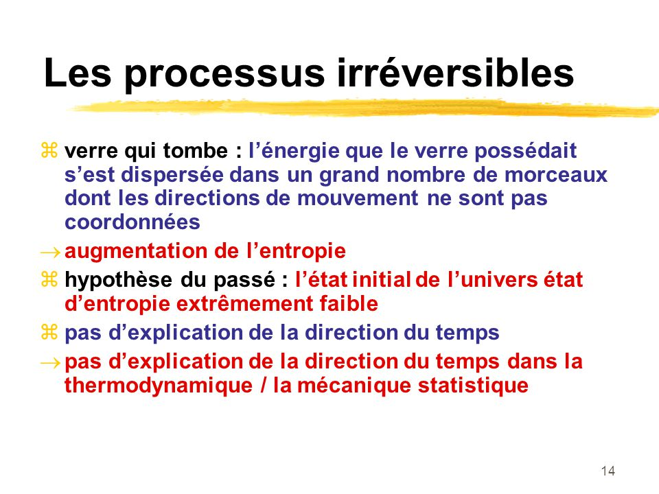 Les processus irréversibles