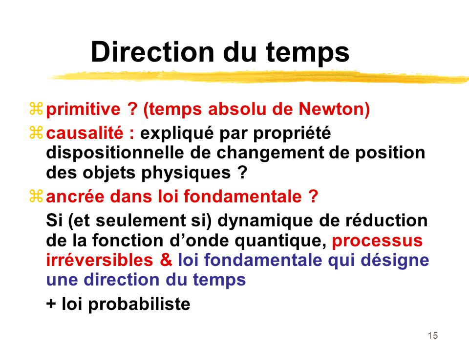 Direction du temps primitive (temps absolu de Newton)