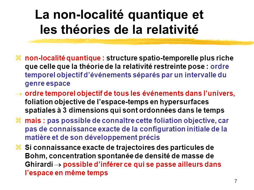 La non-localité quantique et les théories de la relativité