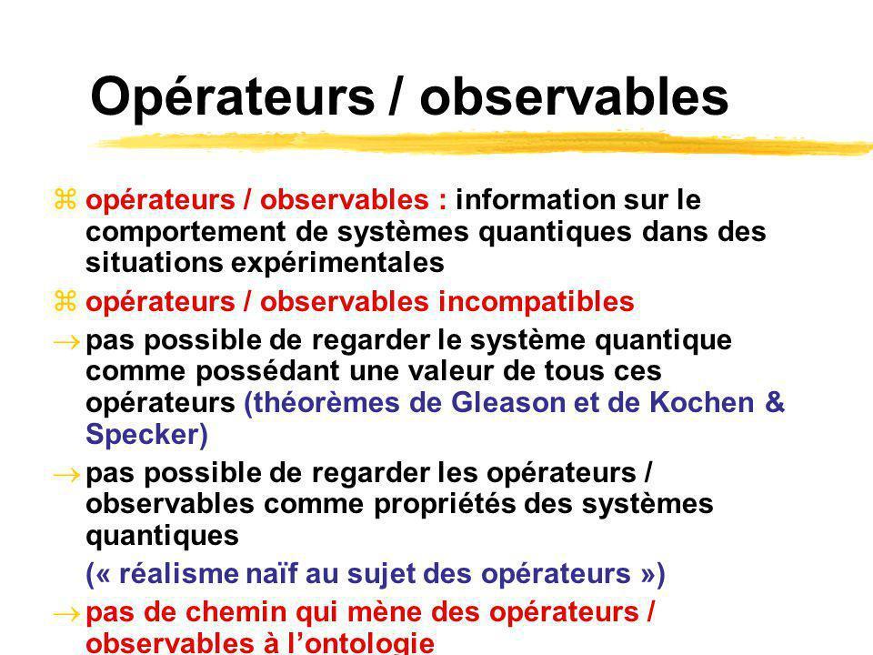 Opérateurs / observables