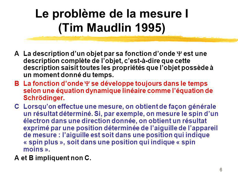 Le problème de la mesure I (Tim Maudlin 1995)