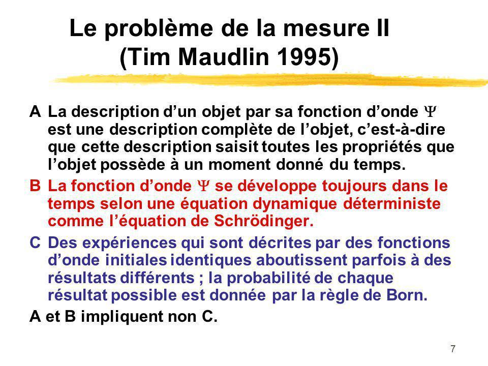 Le problème de la mesure II (Tim Maudlin 1995)