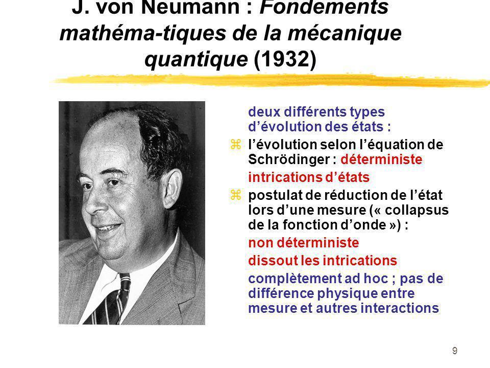 J. von Neumann : Fondements mathéma-tiques de la mécanique quantique (1932)