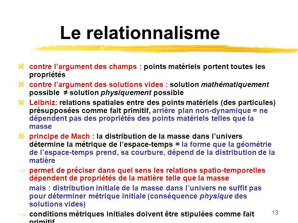 Le relationnalisme contre l'argument des champs : points matériels portent toutes les propriétés.