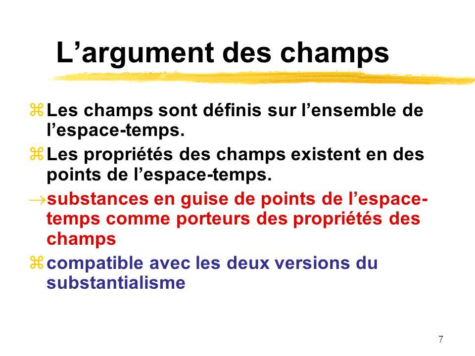 L'argument des champs Les champs sont définis sur l'ensemble de l'espace-temps. Les propriétés des champs existent en des points de l'espace-temps.