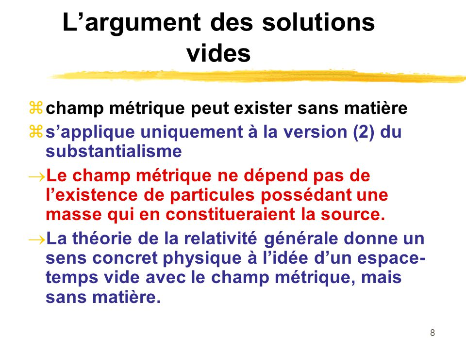 L'argument des solutions vides