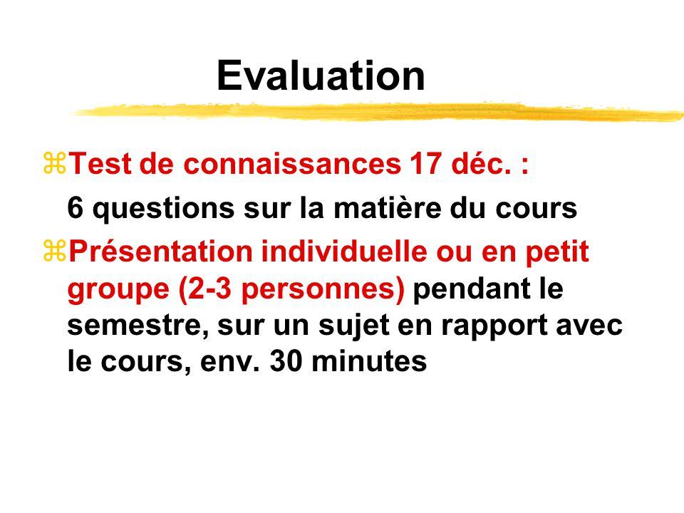 Evaluation Test de connaissances 17 déc. :