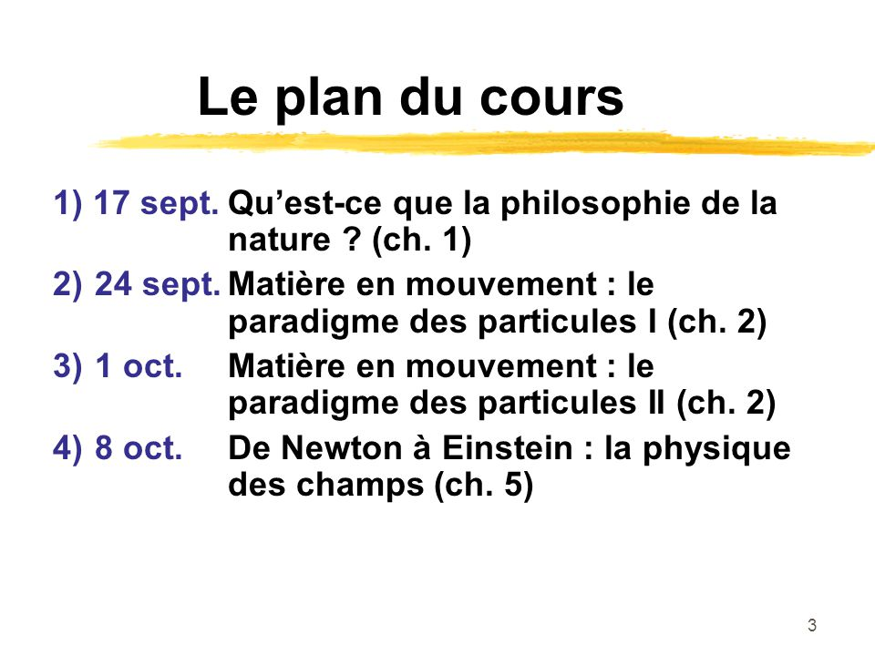 Le plan du cours 1) 17 sept. Qu'est-ce que la philosophie de la nature (ch. 1)
