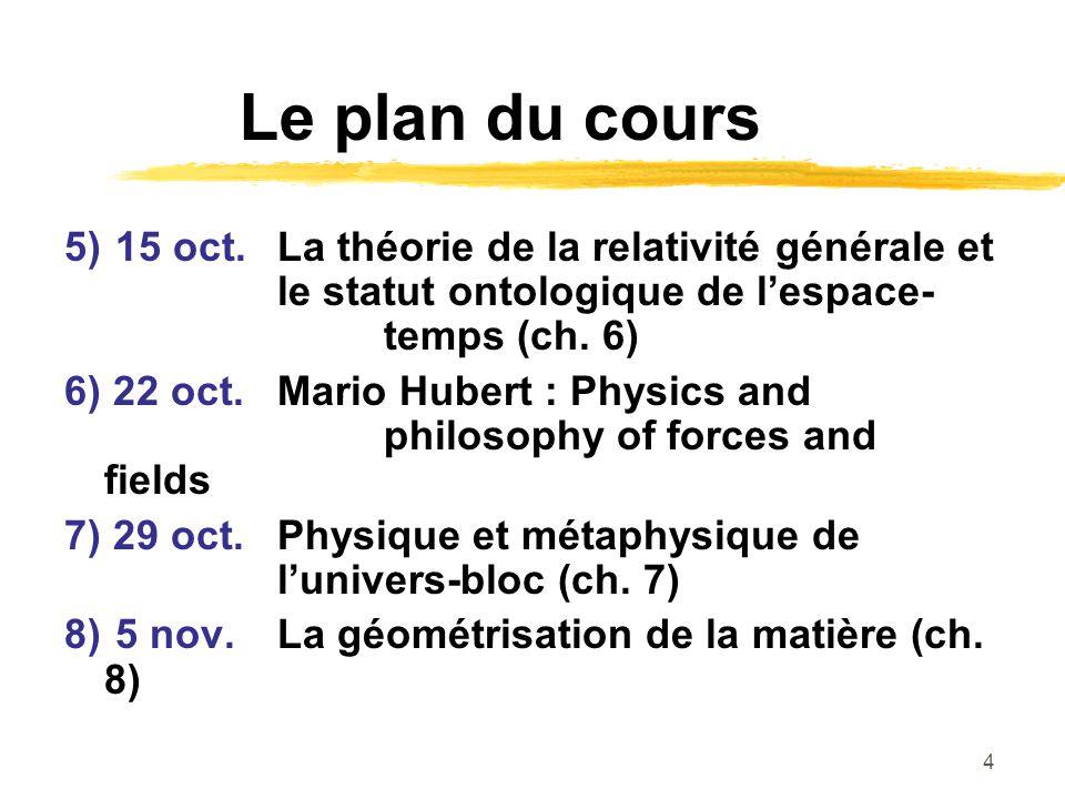 Le plan du cours 5) 15 oct. La théorie de la relativité générale et le statut ontologique de l'espace- temps (ch. 6)