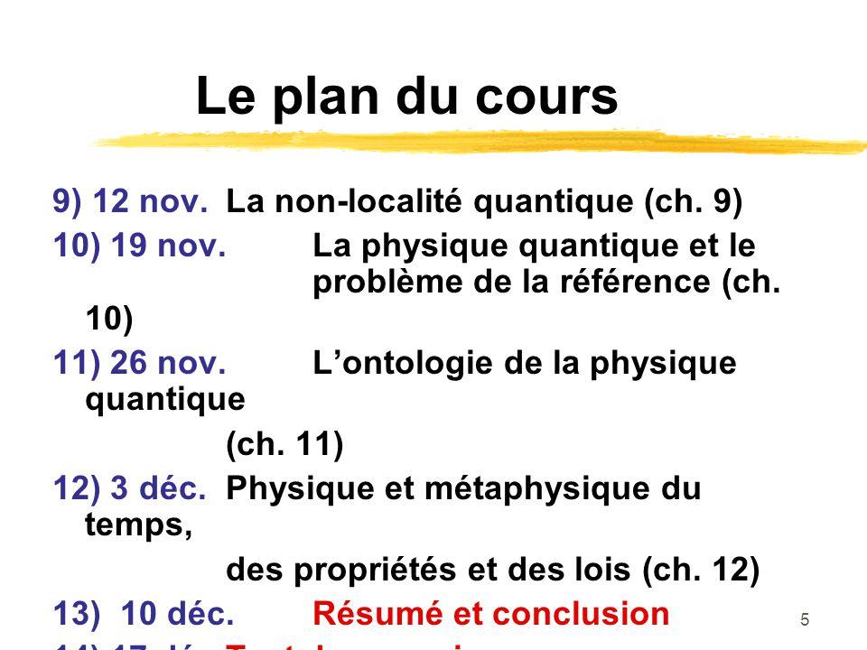 Le plan du cours 9) 12 nov. La non-localité quantique (ch. 9)