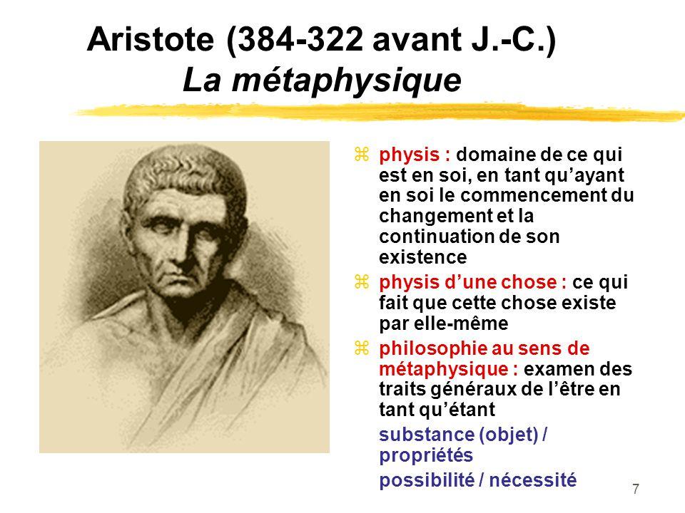 Aristote (384-322 avant J.-C.) La métaphysique