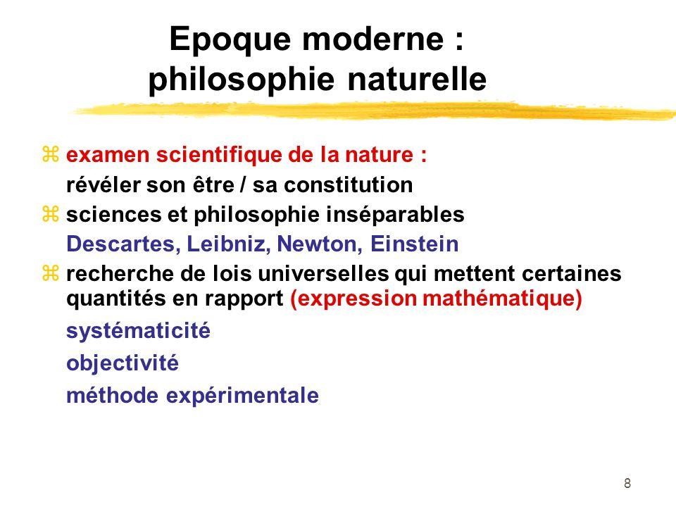 Epoque moderne : philosophie naturelle
