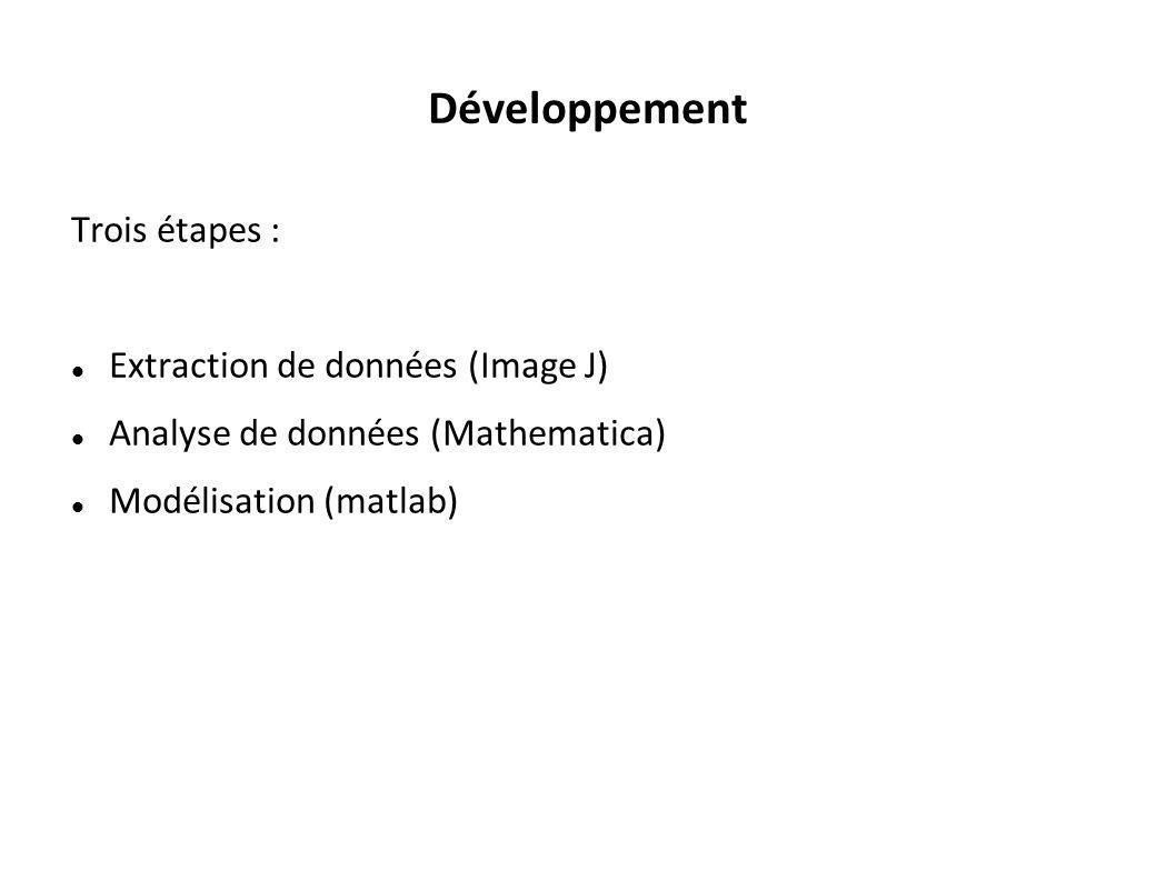 Développement Trois étapes : Extraction de données (Image J)