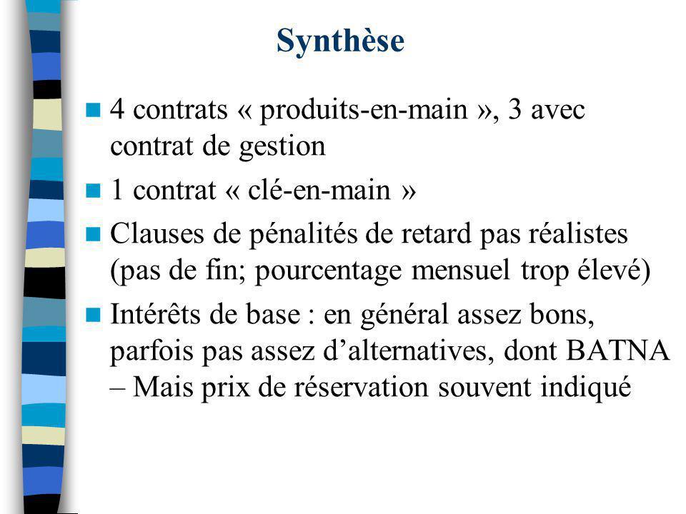 Synthèse 4 contrats « produits-en-main », 3 avec contrat de gestion