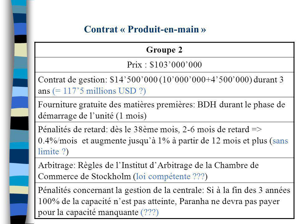 Contrat « Produit-en-main »