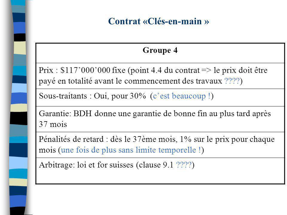 Contrat «Clés-en-main »