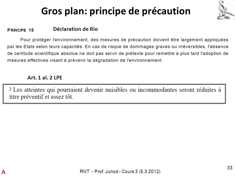 Gros plan: principe de précaution