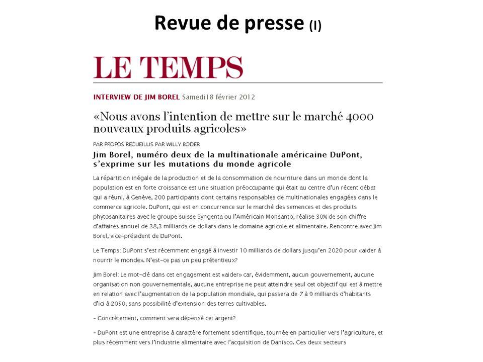 Revue de presse (I)