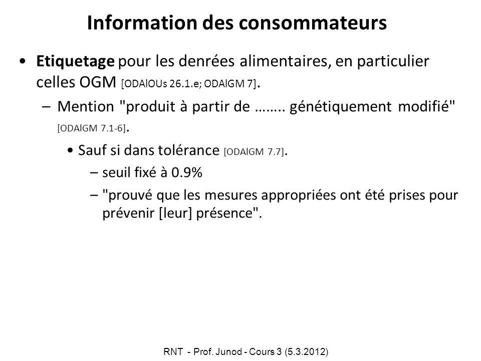Information des consommateurs