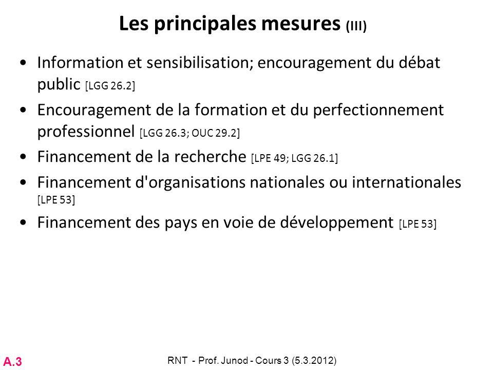 Les principales mesures (III)