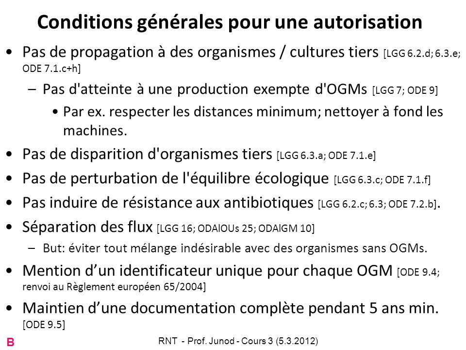Conditions générales pour une autorisation