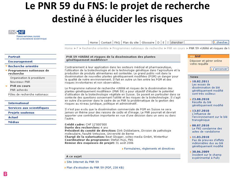 Le PNR 59 du FNS: le projet de recherche destiné à élucider les risques