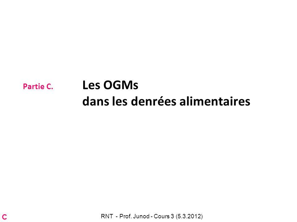 Partie C. Les OGMs dans les denrées alimentaires