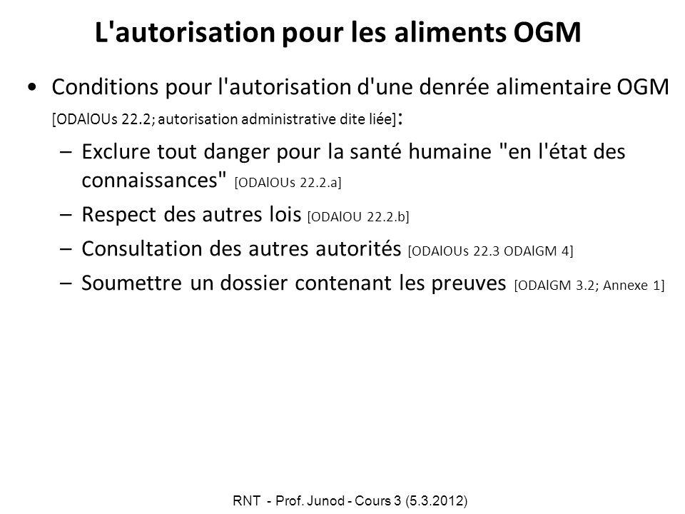 L autorisation pour les aliments OGM