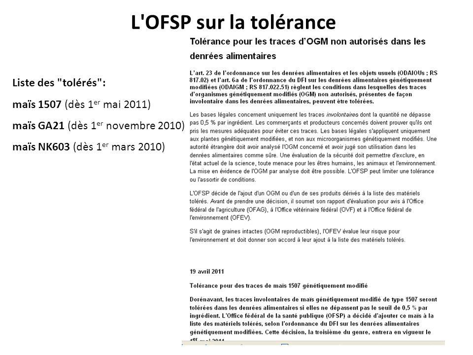 L OFSP sur la tolérance Liste des tolérés :
