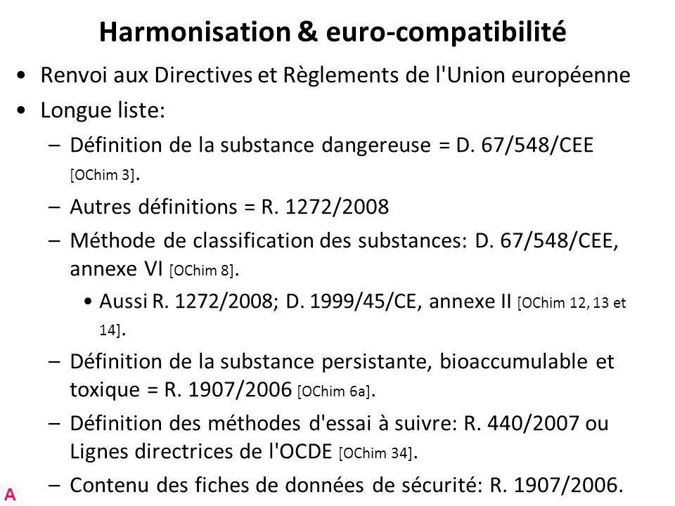 Harmonisation & euro-compatibilité