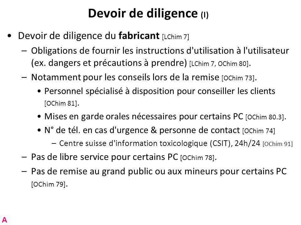 Devoir de diligence (I)