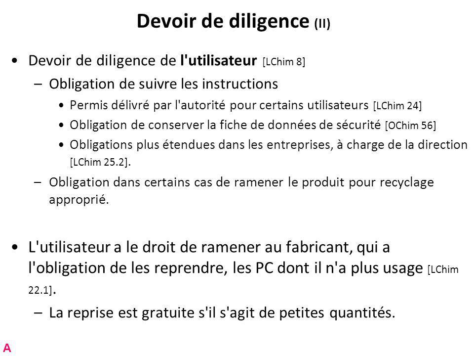 Devoir de diligence (II)