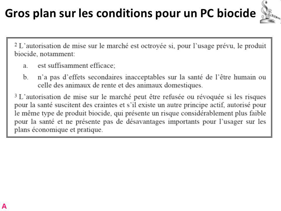 Gros plan sur les conditions pour un PC biocide