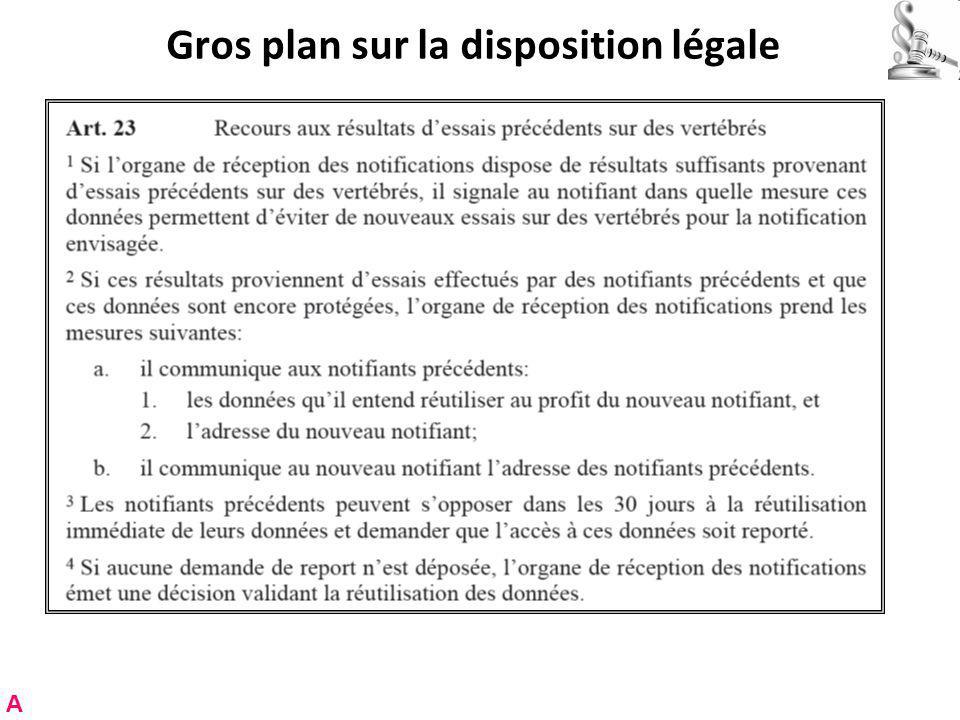 Gros plan sur la disposition légale