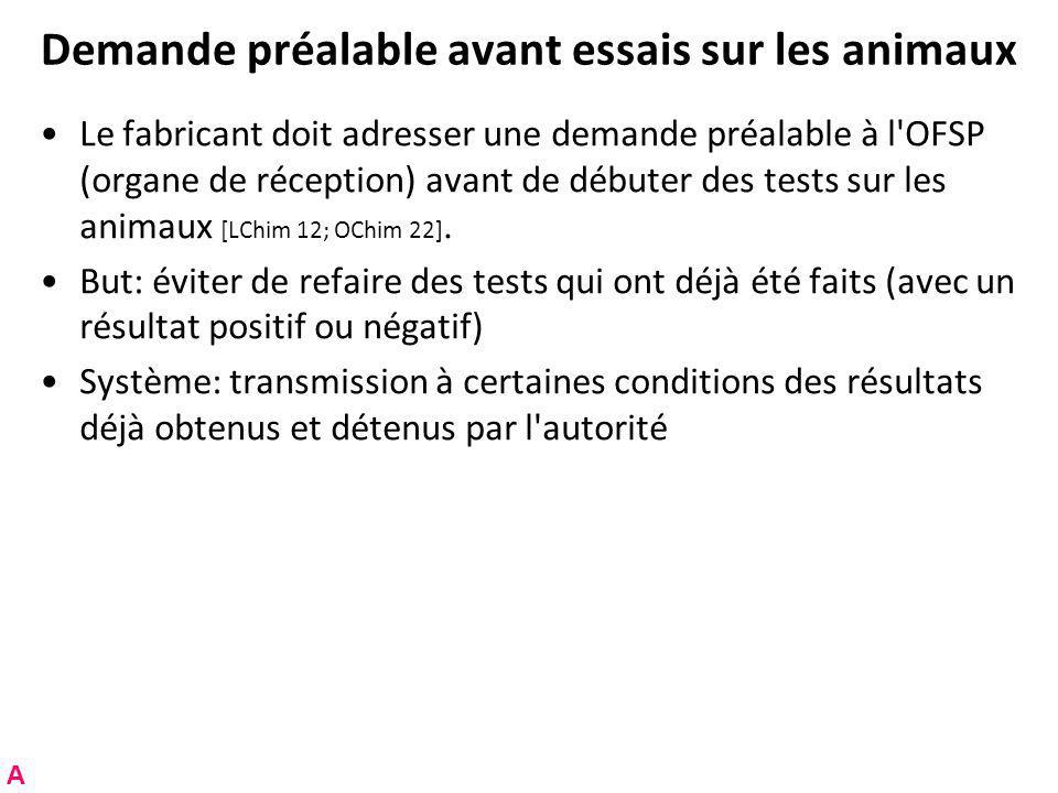 Demande préalable avant essais sur les animaux