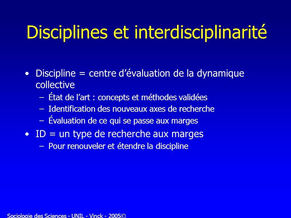 Disciplines et interdisciplinarité